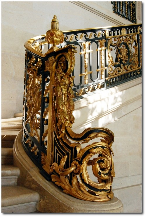 Staircase inside the Petit Trianon Palace of Versailles. 500x741 Baroque French Style