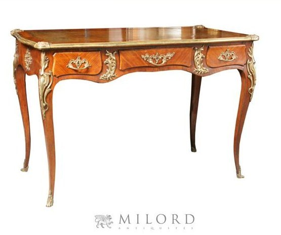 Louis XV Style Kingwood Leather Top Desk French Styled Louis Desks
