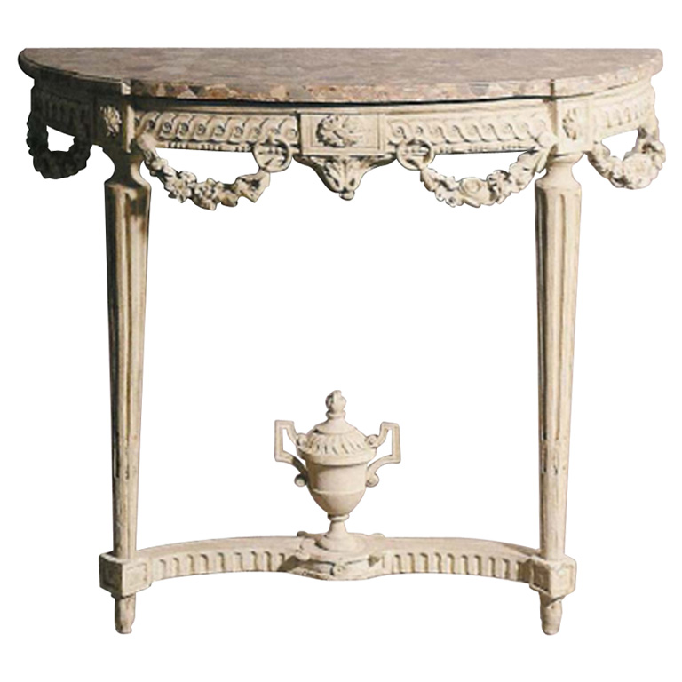 A Very Fine Painted Louis XVI Demi-Lune Console with Marble Top Seller Branca