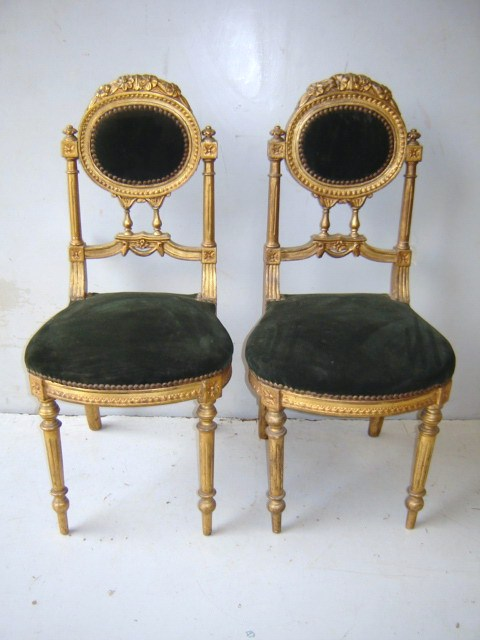 antique pair of french louis xvi gilded chairs