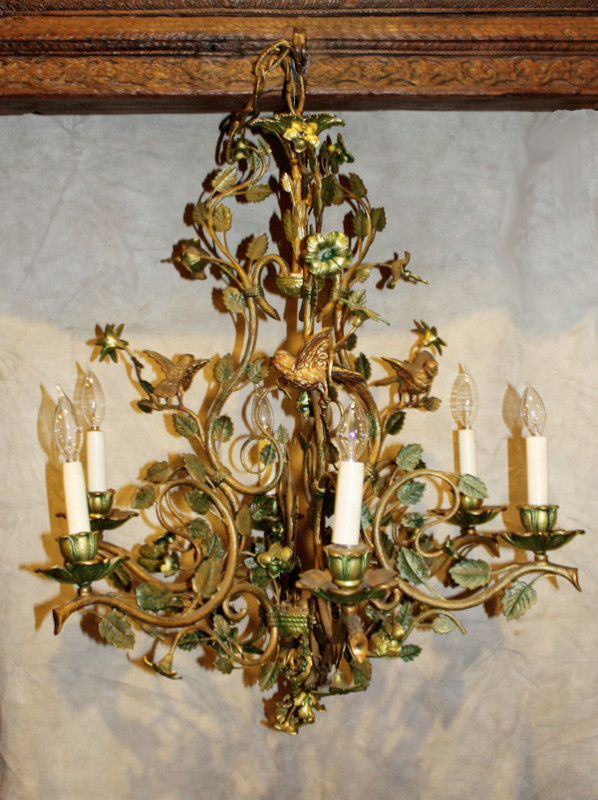 - Bronze French Antique Birds & Tole Flowers Chandelier