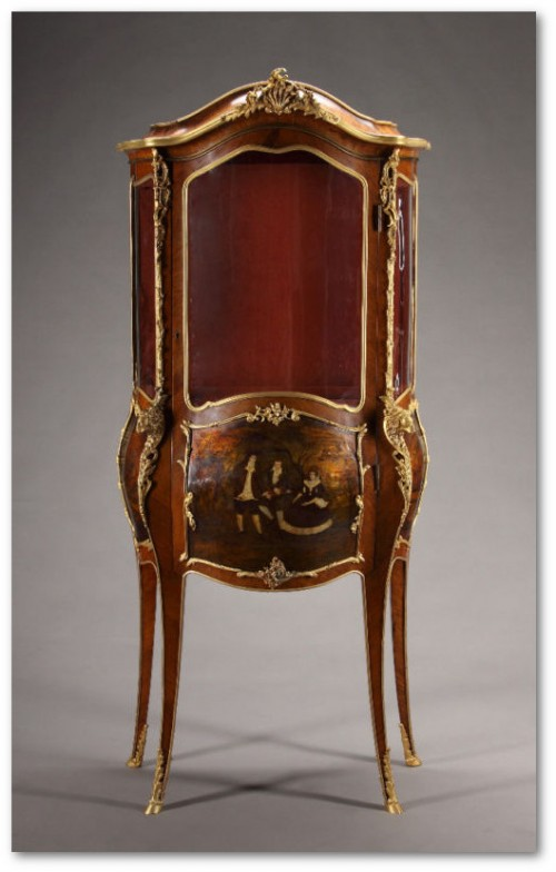 19th C French Gilt Bronze Mounted Louis XV Style Vitrin1 500x784 Exceptional Rare French Antique Furniture