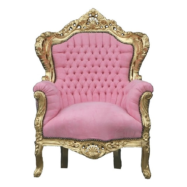 French Baroque Chair In Pink With A Gilt Wood Frame Very