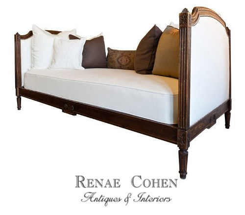 French Louis XVI Style Newly Upholstered Daybed White and Cream French Furniture