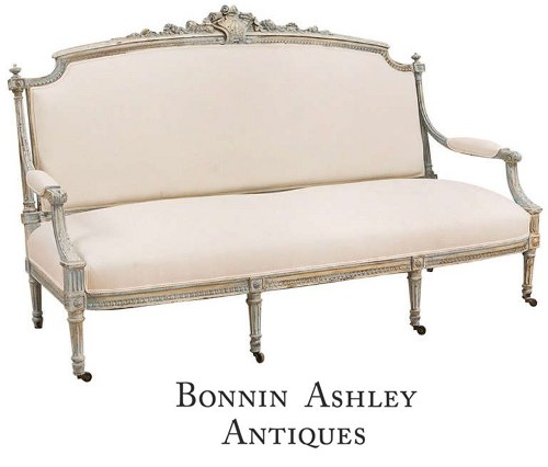 French Louis XVI Style Upholstered Sofa in Painted Finish White and Cream French Furniture