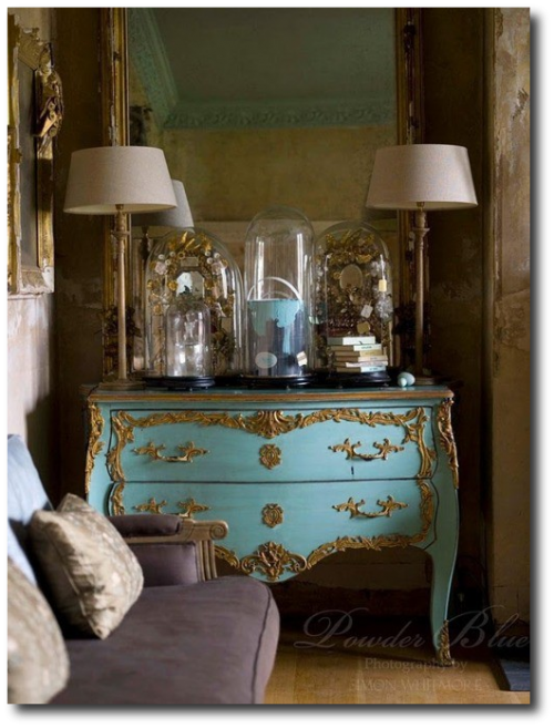 French Painted Louis XV Chest in Blue Decorating With Pastels From FRench Madame Blog 500x657 Decorating With Pastels For A French Styled Home