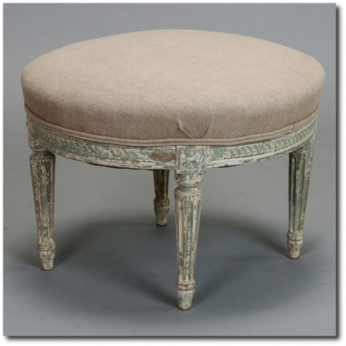 French White Painted Round Upholstered Stool 500x500 White and Cream French Furniture