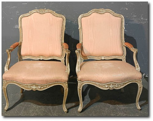 GREAT PAIR FRENCH CREME PAINTED ARM DINING HEAD CHAIRS Ebay Seller Chebella99 500x395 Decorating With Pastels For A French Styled Home