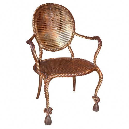 Iron Gilt Rope Chair John Salibello Antiques 500x500 Napolean lll Style Rope Twisted Gilt Furniture