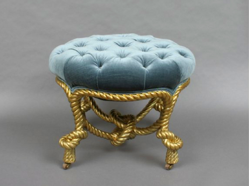 Italian Carved And Gilt Wood Rope Stool