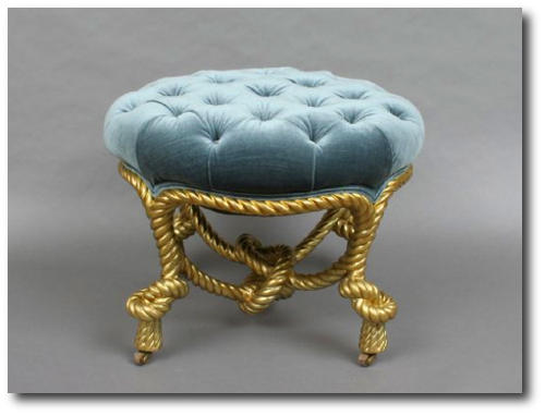Italian Carved and Gilt Wood Rope Stool1 Napolean lll Style Rope Twisted Gilt Furniture