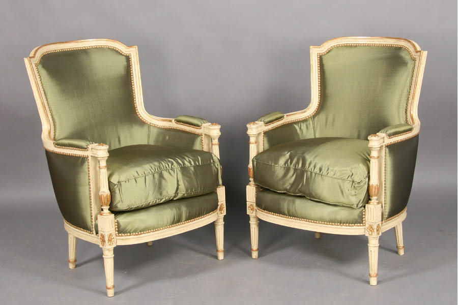 Pair french louis xvi painted amp gilt bergere chairs ebay seller urban