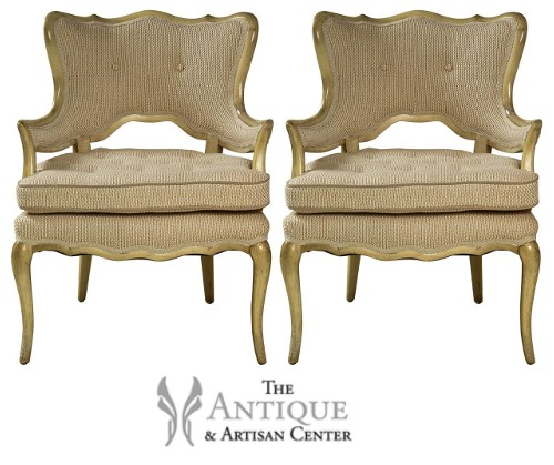 Pair of French style side chairs newly upholstered in cream and white linen White and Cream French Furniture