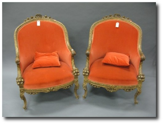 Pair of carved gilt Louis XV style armchairs From Nadeaus Auction 500x3751 Decorating With Pastels For A French Styled Home