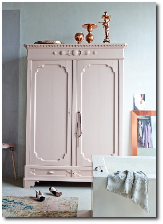 Pastel pink vintage cupboard Decorating With Pastels For A French Styled Home