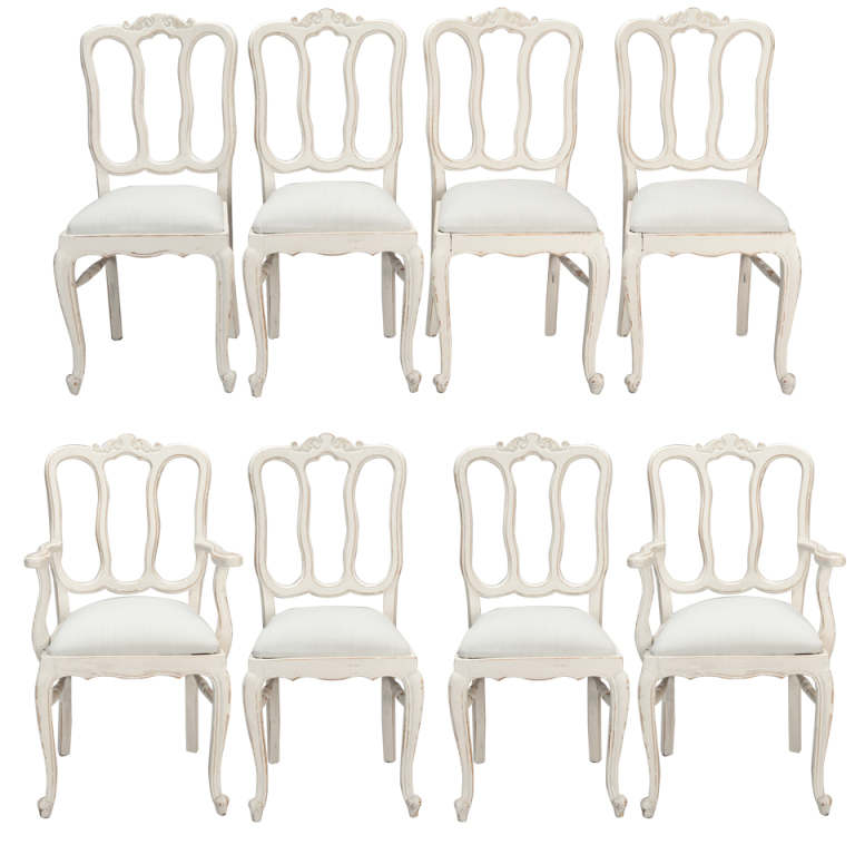Set Of Eight French White Painted Open Back Dining Chairs 500x500 White And  Cream French Furniture