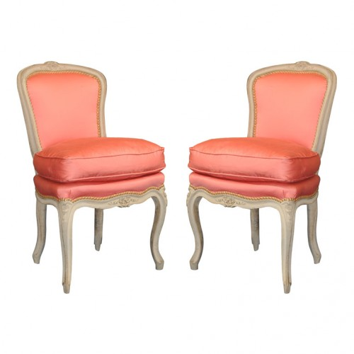 Vintage French Peach Satin Pink Chairs in A Lime Washed Frame 500x500 Vintage French Peach Satin Pink Chairs in A Lime Washed Frame