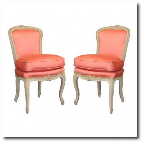 Vintage French Peach Satin Pink Chairs in A Lime Washed Frame 500x500 Decorating With Pastels For A French Styled Home