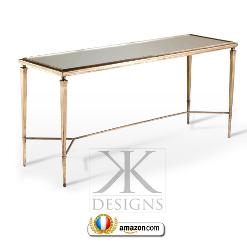 Alina Antique Gold Mirror Leaf Elegant Console Table Kathy Kuo Home French Style Directoire Tables