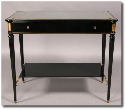 FRENCH LOUIS XVI TWO TIER OCCASIONAL TABLE EBONIZED From Urban Artifacts 500x437 Neoclassical French Furniture