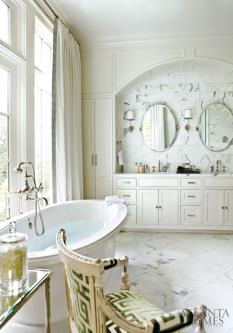 French neoclassical chair featured in atlanta homes and for Master bathroom white