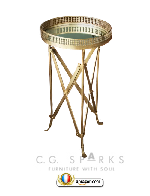 Iron and Glass Accordion Side Table in Brass French Style Directoire Tables