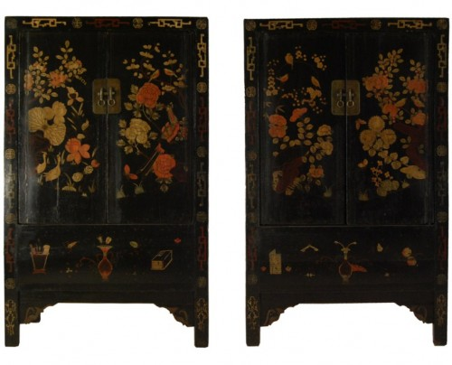 19th Century Chinese Black Cabinets 500x404 How To Paint Black Furniture A Dozen Examples Of Exceptional Black Painted Furniture