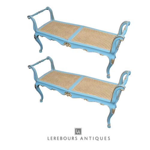 A Pair of Blue Painted and Gilded Louis XV Style Caned Benches How to Add Color Into Your Home With Confidence