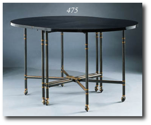 A gateleg table 1960 of gunmetal steel gold plating and black Formica Exceptional Rare French Antique Furniture