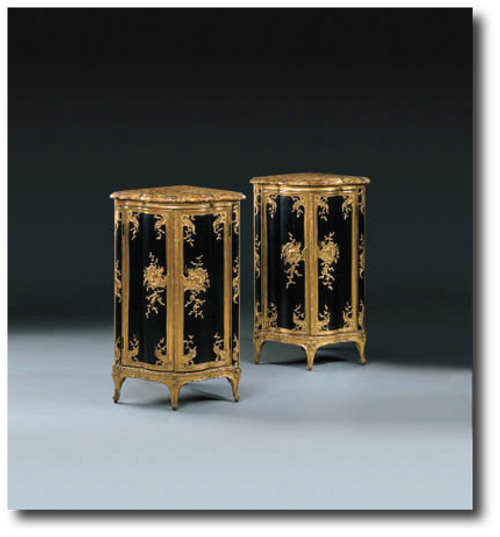 A pair of lacquered wooden corner cabinets1 Exceptional Rare French Antique Furniture
