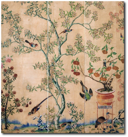 A rare set of Chinese painted wallpapers formerly hung in colonial Williamsburg. Chinese for the European Market. Second Half of the Eighteenth Century 500x533 10 Ways To Use Pink, Orange and Coral In Your Home