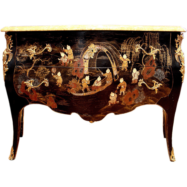 french louis xv style black lacquer commode1 500x500 how to paint black furniture a dozen examples black lacquer paint for furniture