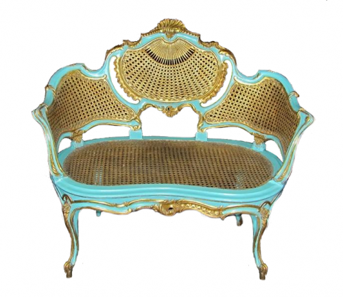 French gilt louis xv caned settee petite canap for Petit canape