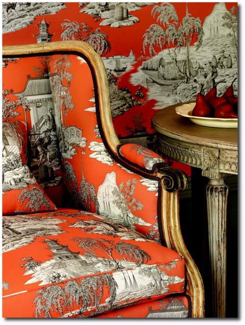 Orange toile from Manuel Canovas 500x663 Decorate With Bright Pops Of Color In Your Home