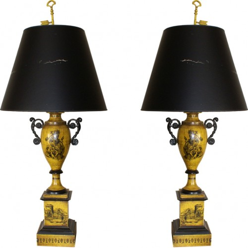 Yellow tole lamps Seller Antiques Art Exchange 500x500 Decorate With Bright Pops Of Color In Your Home