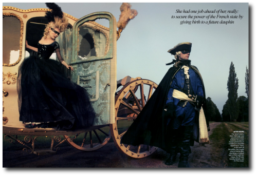 Marie Antoinette Annie Leibovitz Kirsten Dunst 18th Century French 10 500x343 Marie Antoinette Behind the Scences For Vogue Magazine