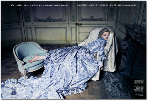 Marie Antoinette Annie Leibovitz Kirsten Dunst 18th Century French 2 500x341 Marie Antoinette Behind the Scences For Vogue Magazine
