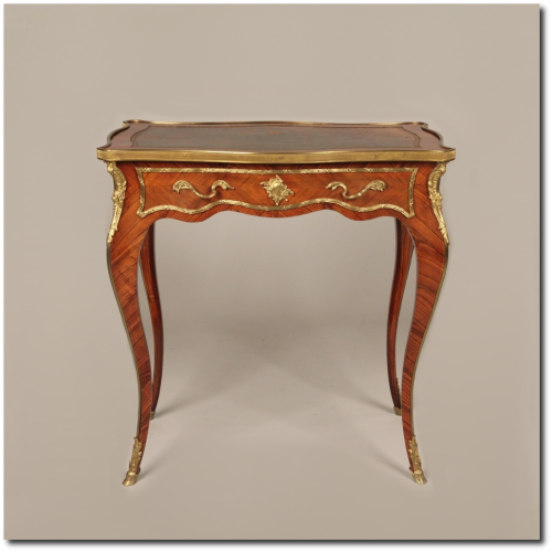 French 500x500 Louis XV Style Antique Rosewood Brass Mounted Side Sofa Hall Table c. 1900 10  Silla Fine Antiques