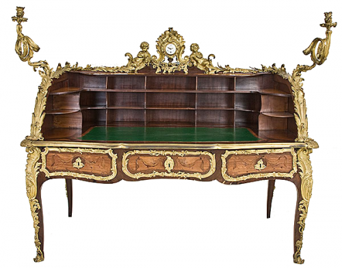 Early 19th Century Louis XV Style Figural Gilt Bronze Mounted Tulipwood Marquetr Three Drawer Bureau Plat Cartonnier with Dual Clock Works by Lenoir Paris By Jans antiques 500x392 A Little Bit Of Provence In Your Home