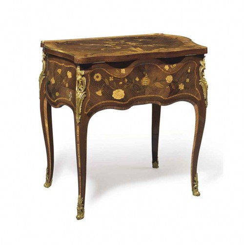 Wilson76marquetryTable 500x503 Extravagant French Marquetry Tables