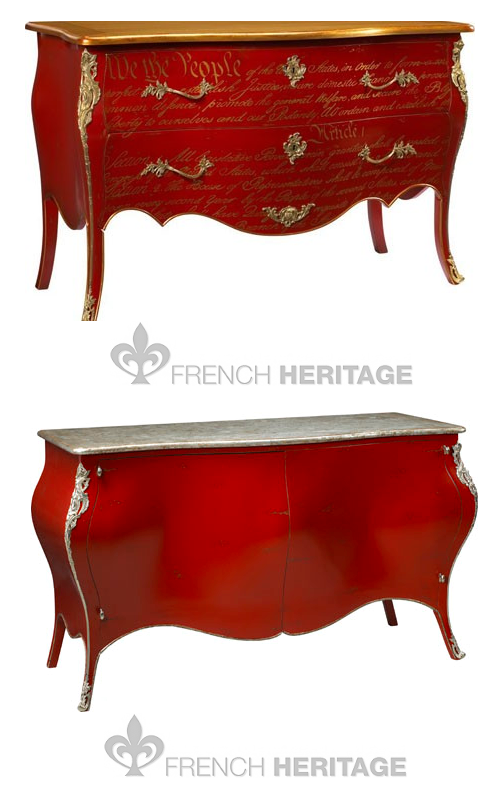 French Heritage Chests U.S. Constitution Commode in Red and Gold, Jourdan Buffet by French Heritage French Painted Furniture, French Interiors, French Antiques, French Reproductions, French chest