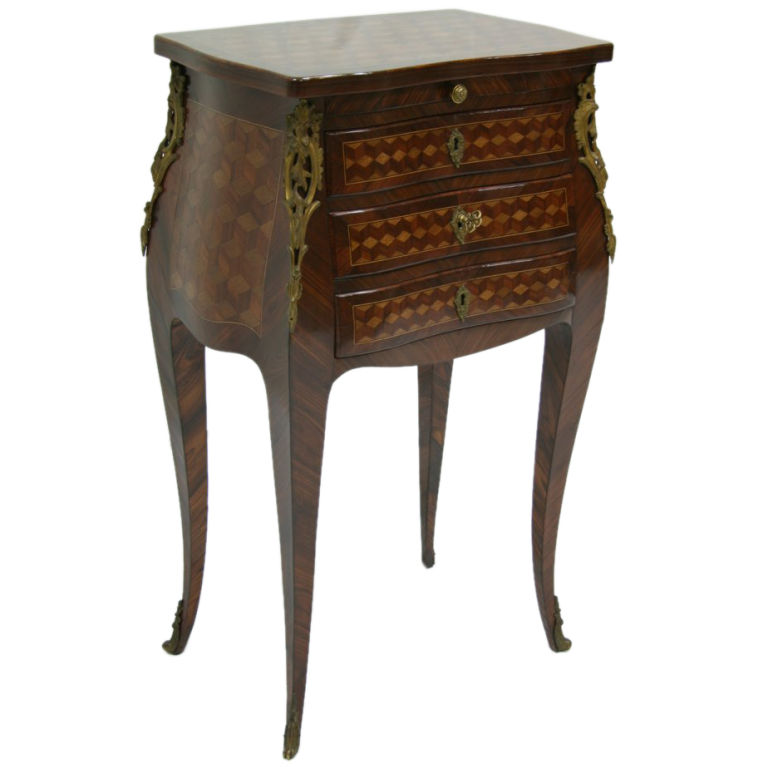19th century french rosewood marquetry chevet table louis - Table de chevet louis xv ...