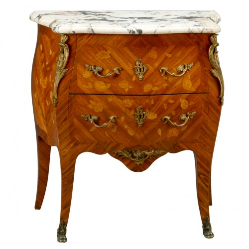19th century Louis XV style marquetry inlaid bronze mounted marble top petite commode. 500x500 Extravagant French Marquetry Tables