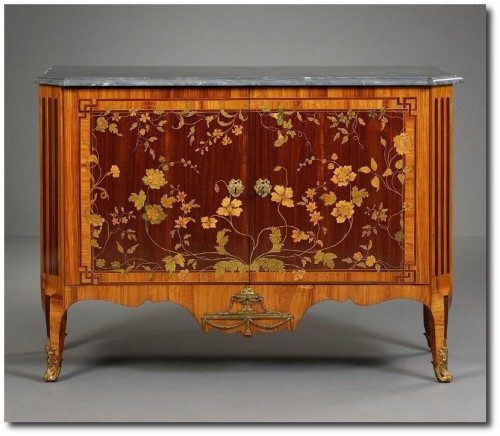 A Dutch Transition Commode with Marquetry ca. 1775 500x436 Extravagant French Marquetry Tables