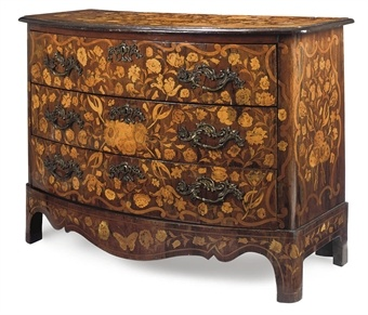 Dutch Rosewood and Marquetry Bow Front Commode late 19th Century Extravagant French Marquetry Tables