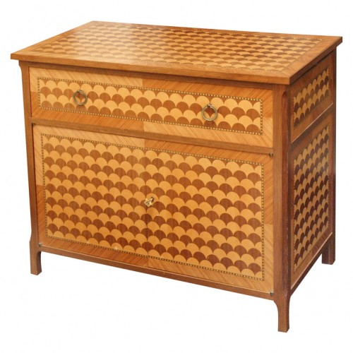 Fish Scale Marquetry Commode 500x500 Fish Scale Marquetry Commode