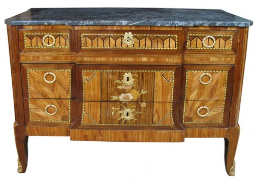 French Marquetry Commode 500x368 Extravagant French Marquetry Tables