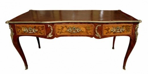 Louis XV Kingwood Fruitwood Marquetry Bureau Plat 500x252 Extravagant French Marquetry Tables