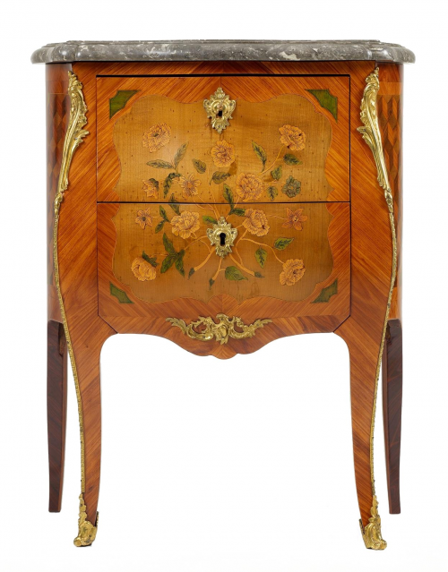 Small French Louis XV Commode 500x639 Extravagant French Marquetry Tables