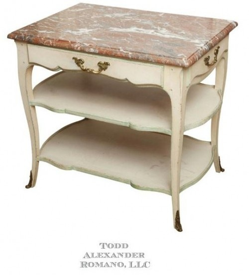 A Louis XV Style Gilt Metal Mounted Painted Side Table A Louis XV Style Gilt Metal Mounted Painted Side Table